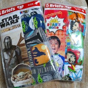 (2)packs Boy's Briefs Star Wars & Ryan's World 5pairs/ea. Size 4 NEW